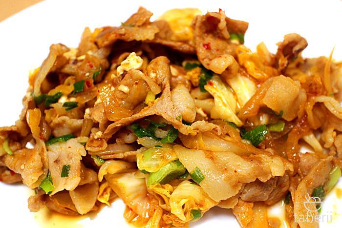 プチッと鍋で豚キムチ2